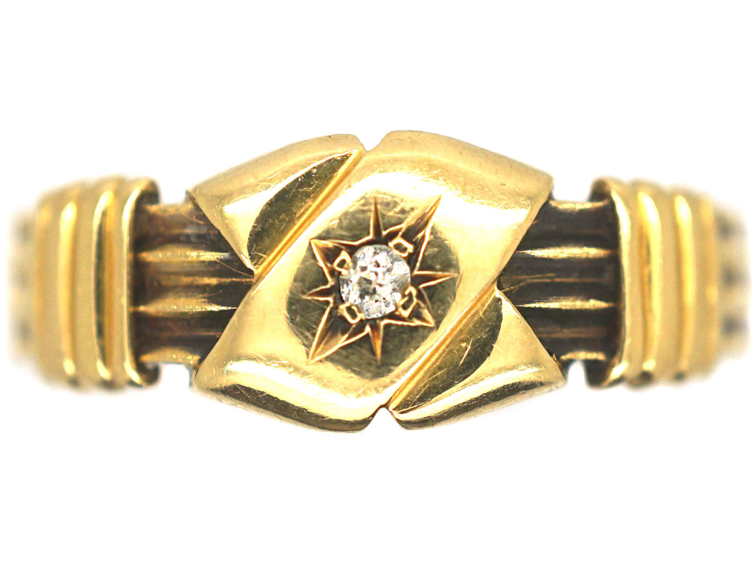 Victorian 18ct Gold Kiss Ring Set With a Diamond