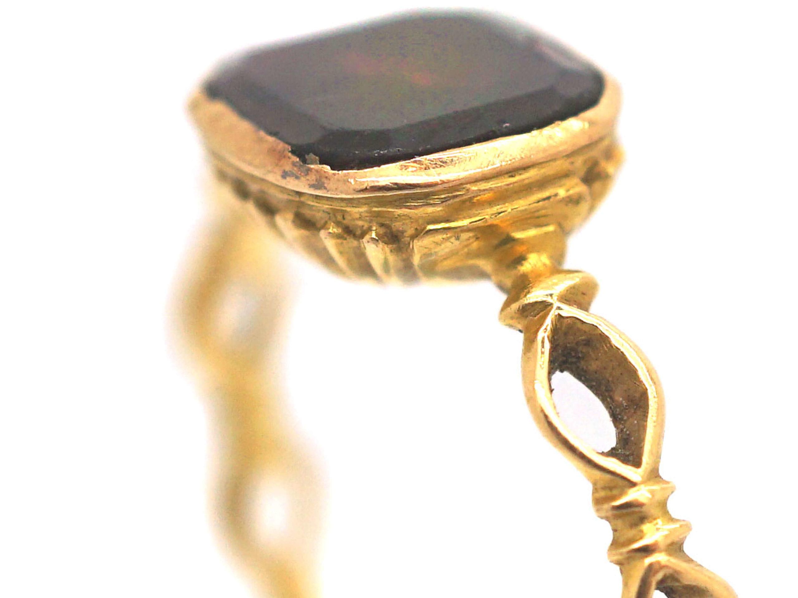 Georgian 18ct Gold & Flat Cut Garnet Ring