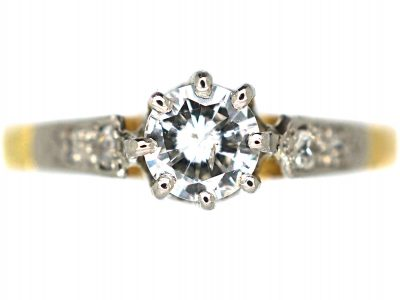 Art Deco 18ct Gold & Platinum, Diamond Solitaire Ring with Diamond Set Shoulders