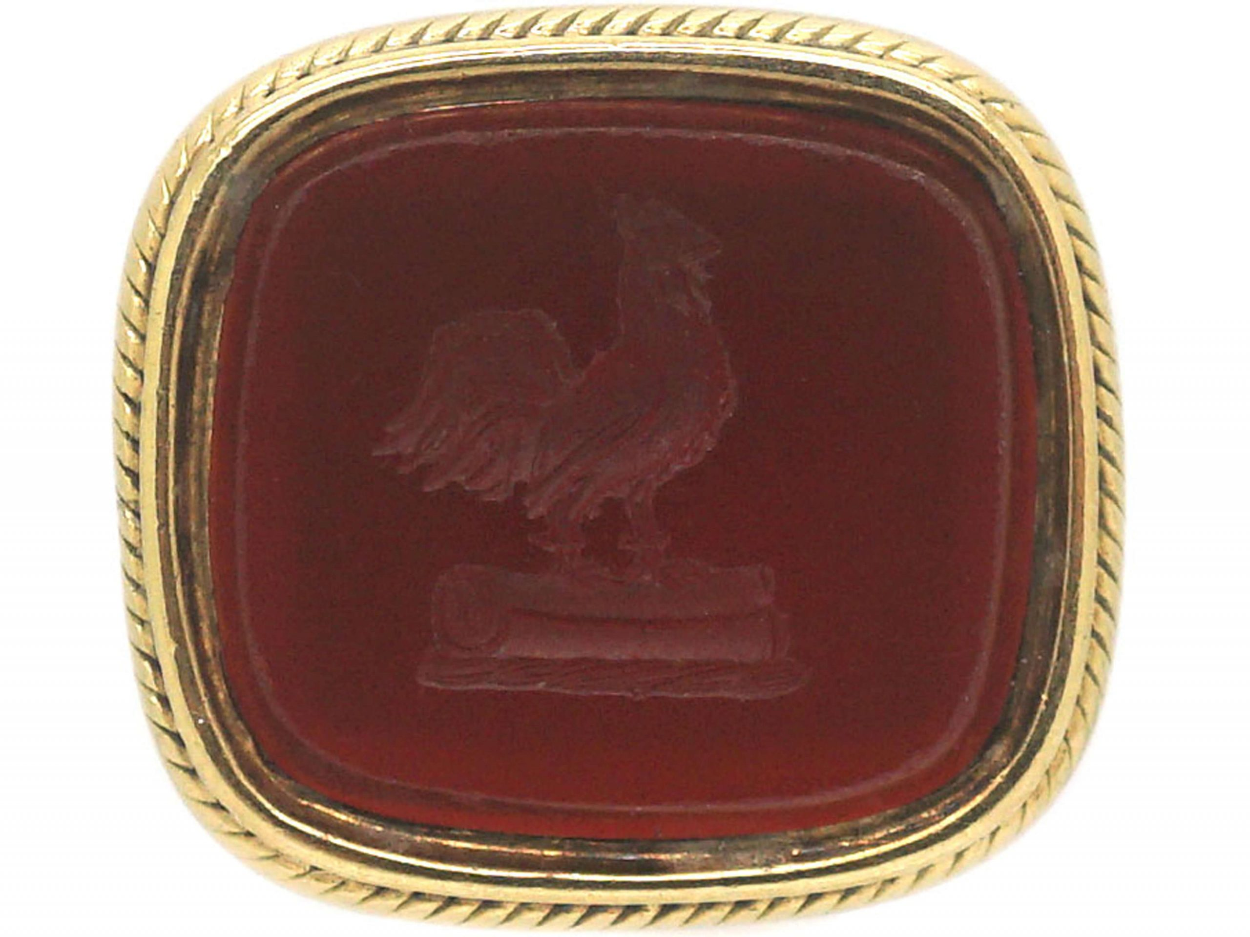 William 1V 18ct Gold Seal with Carnelian Intaglio of a Cockerel
