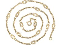 Edwardian 18ct Gold Chain with Knot Motifs