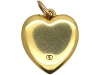 Edwardian 15ct Gold Heart Pendant set with a Natural Split Pearl