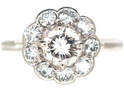Edwardian Platinum, Diamond Daisy Cluster Ring