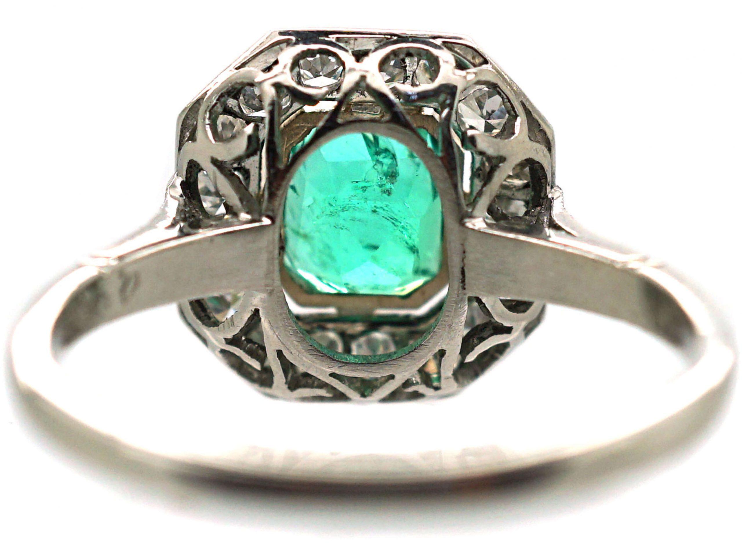 Art Deco Platinum, Emerald & Diamond Octagonal Cluster Ring