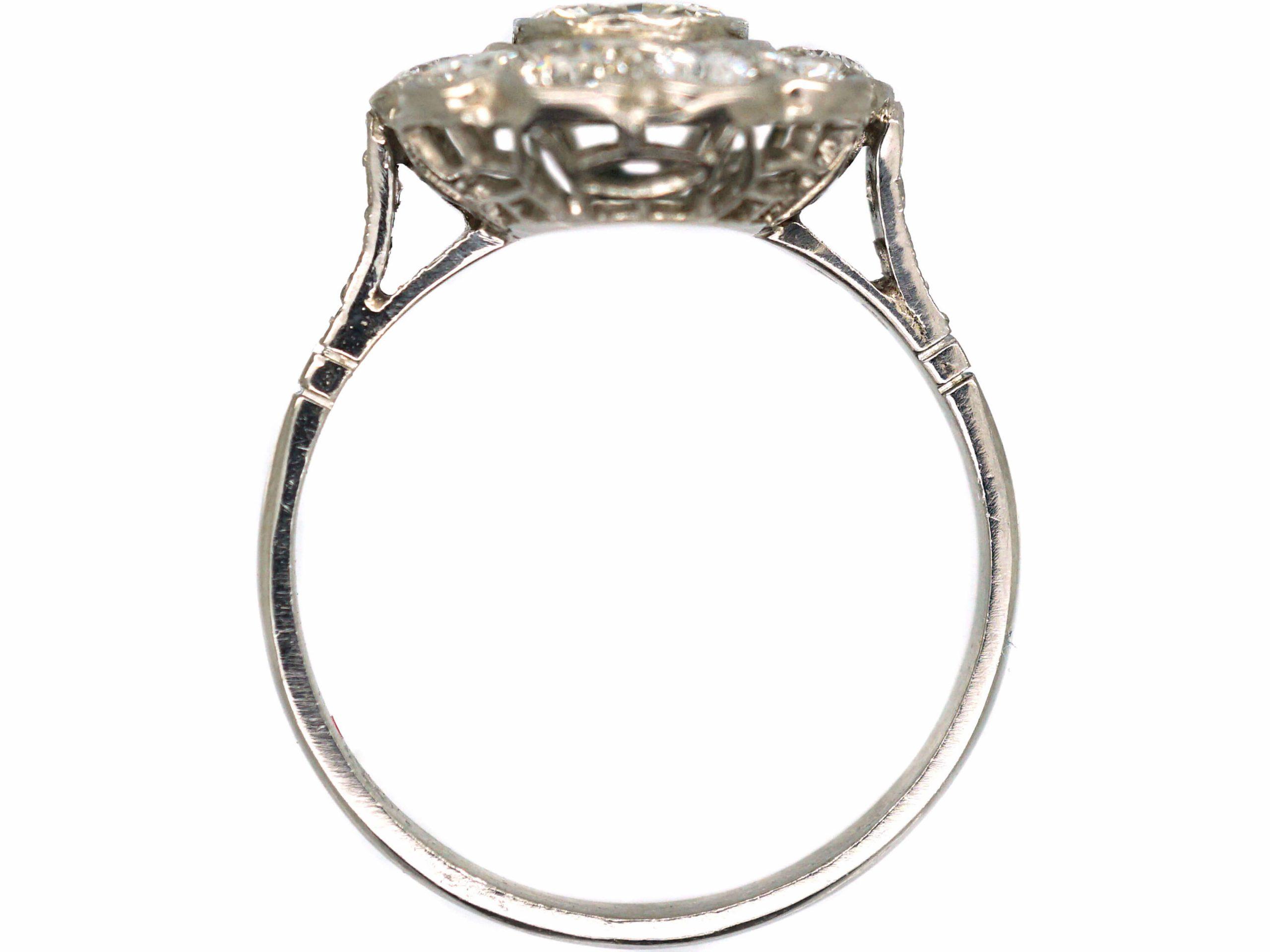 Art Deco Platinum & Diamond Daisy Cluster Ring