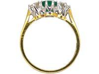 18ct Gold Three Stone Emerald & Diamond Ring