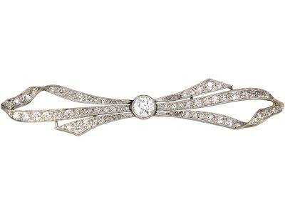 Art Deco 18ct White Gold & Platinum, Diamond Bow Brooch in Original Case
