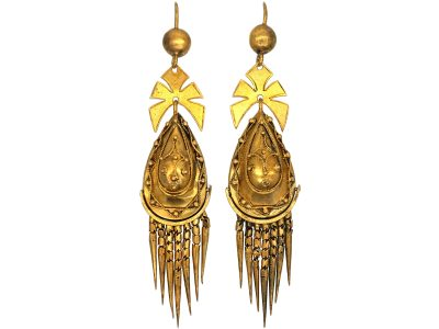 Victorian 18ct Gold Etruscan Revival Fringe Drop Earrings