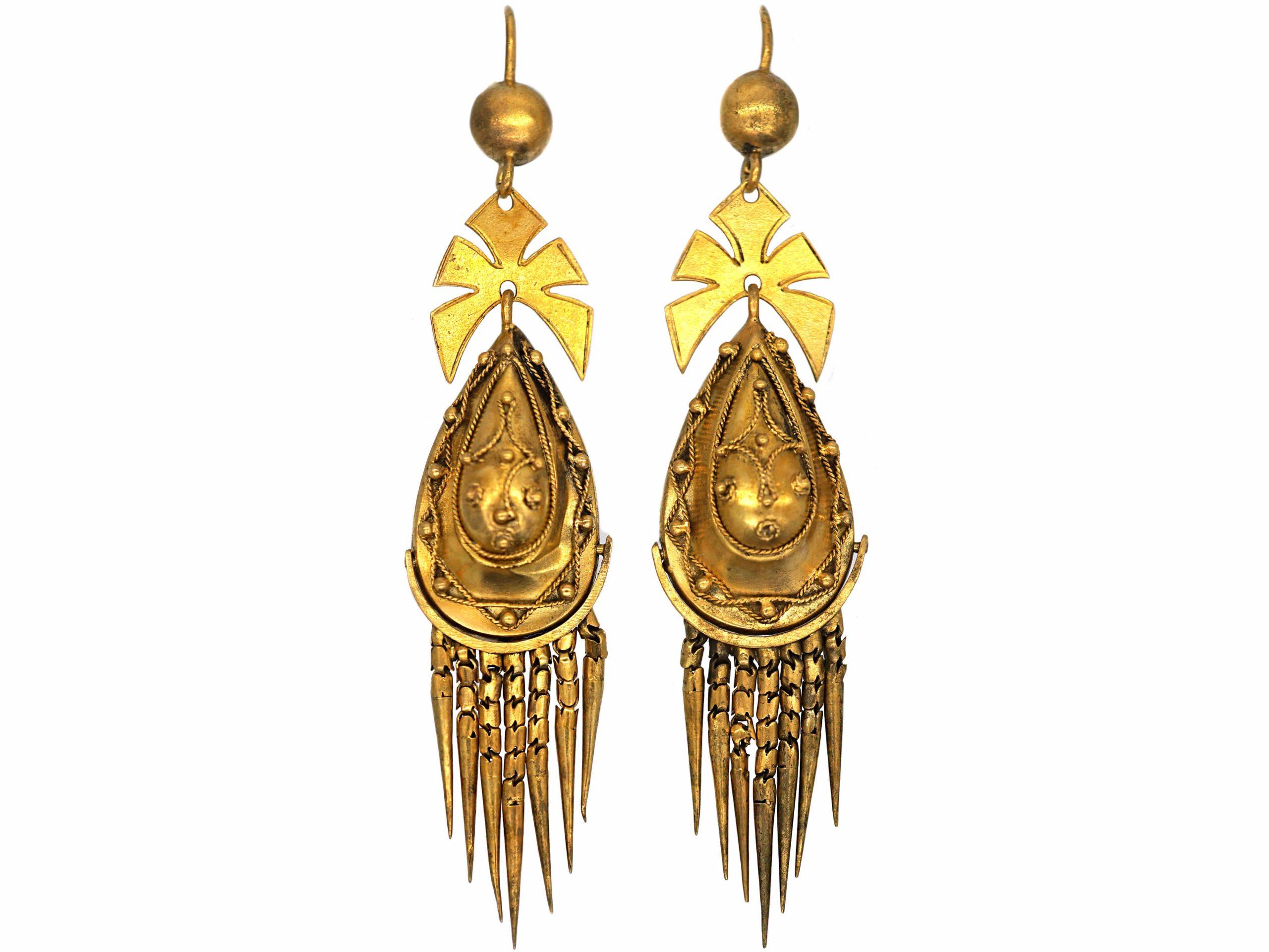 Victorian 18ct Gold Etruscan Revival Fringe Drop Earrings