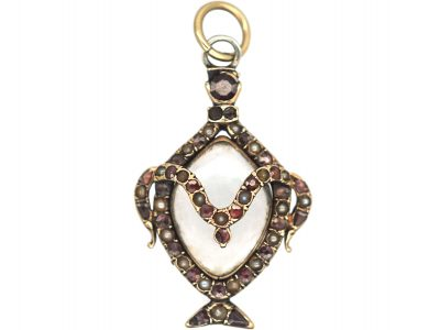 Georgian Urn Shaped Pendant set with Natural Split Pearls & Garnets with Hinged Locket on the Reverse