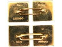 9ct Gold Hobnail Design Square Cufflinks