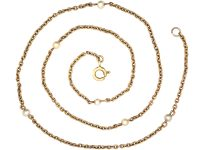 Edwardian 15ct Gold & Natural Pearl Chain with 9ct Gold Spring Clasp
