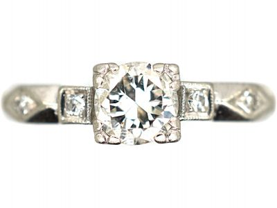 Art Deco Platinum & Diamond Solitaire Ring with Geometric Diamond Set Shoulders