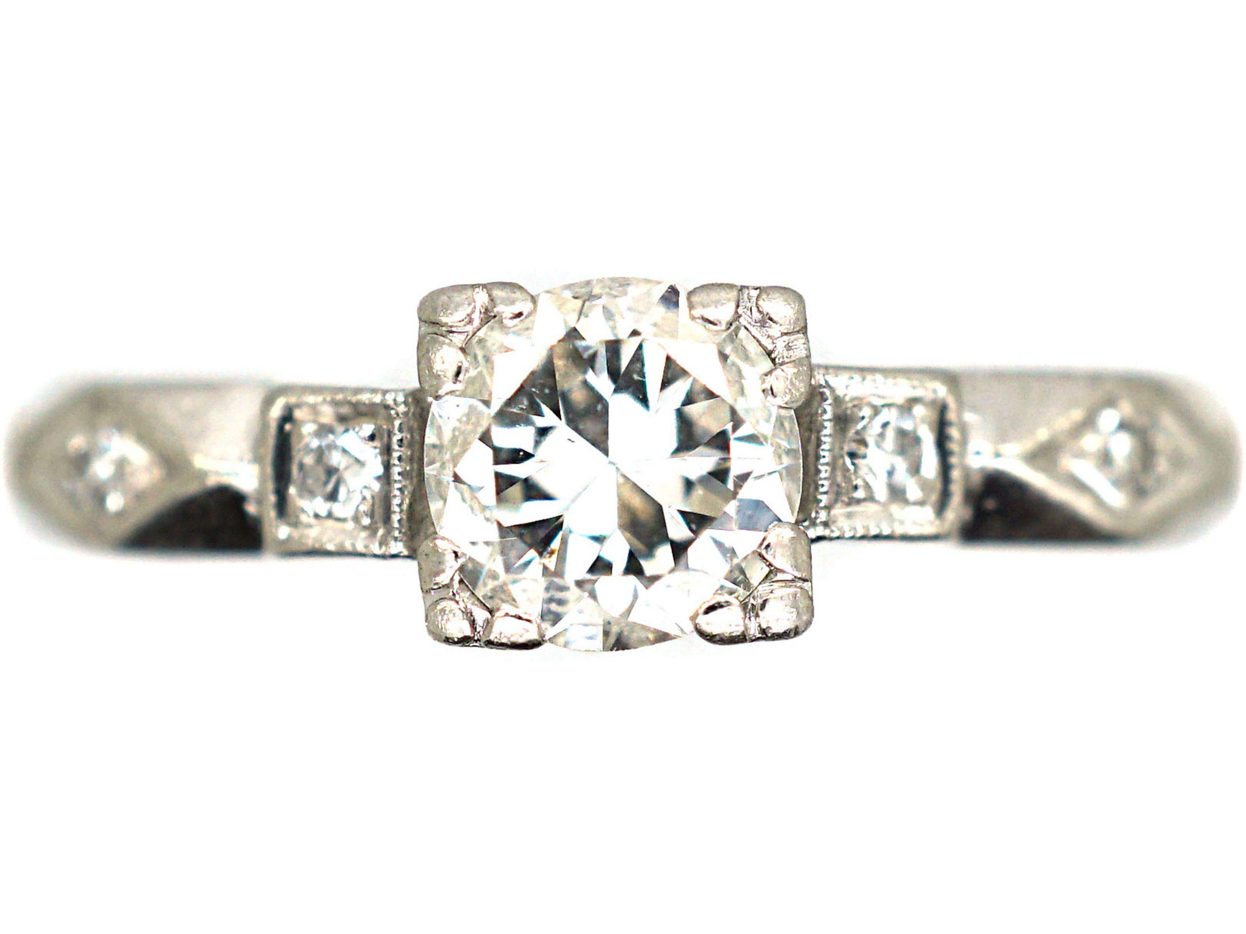Art Deco Platinum & Diamond Solitaire Ring with Geometric Diamond Set Shoulders
