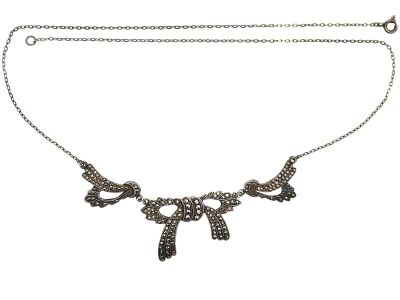 Art Deco Silver & Marcasite Bow Necklace