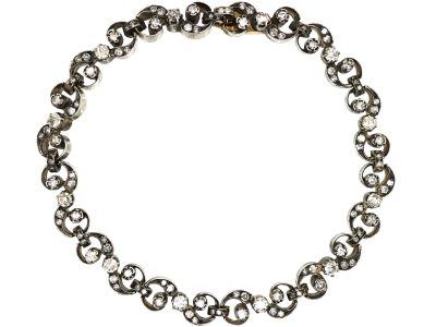 19th Century  French 18ct Gold & Silver, Diamond Bracelet