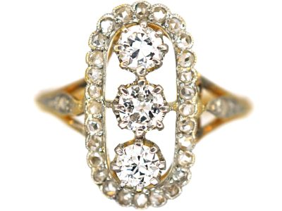 Art Deco 18ct Gold & Platinum, Oval Diamond & Rose Diamond Cluster Ring