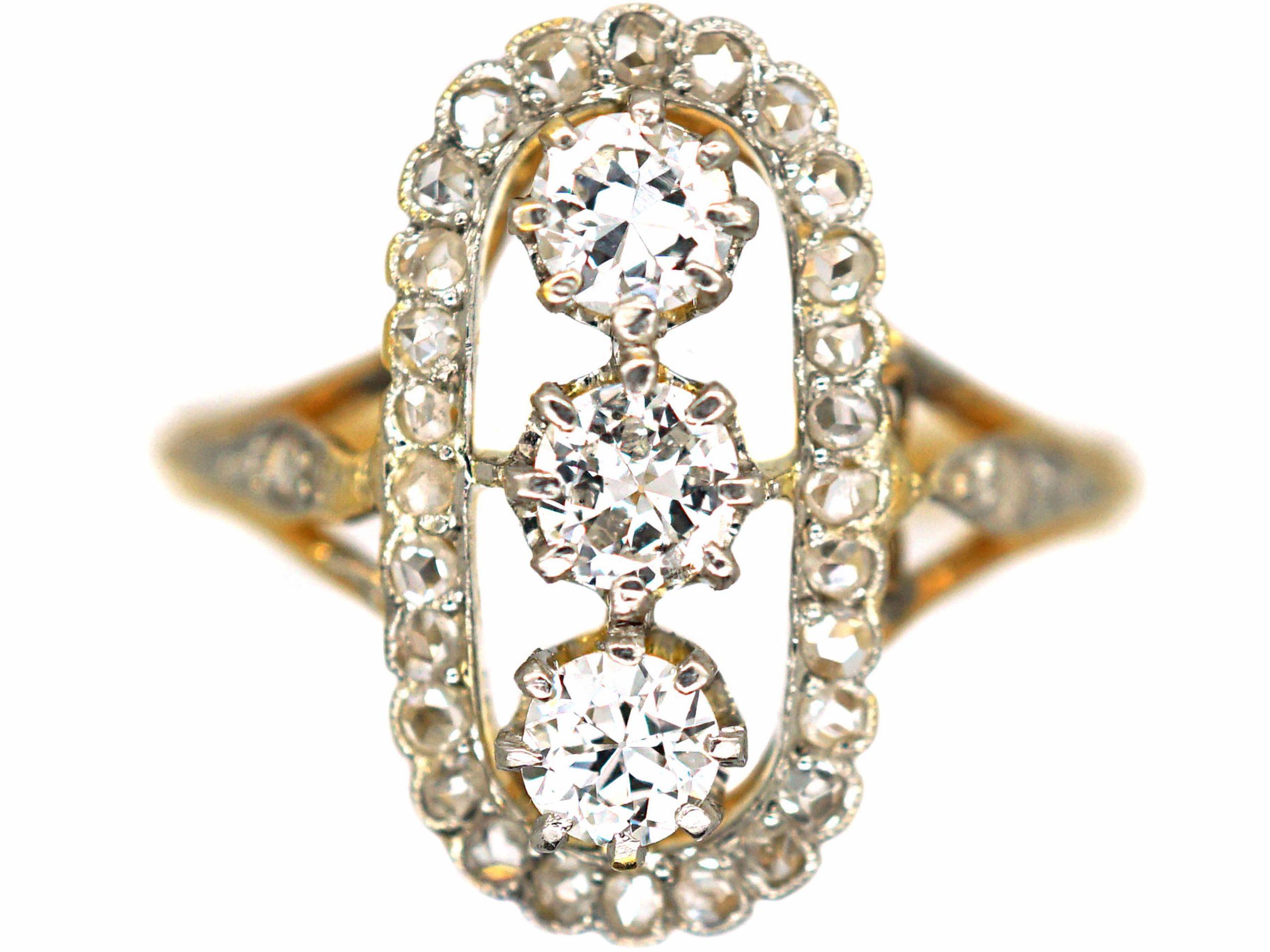Art Deco 18ct Gold & Platinum, Oval Diamond & Rose Diamond Cluster Ring