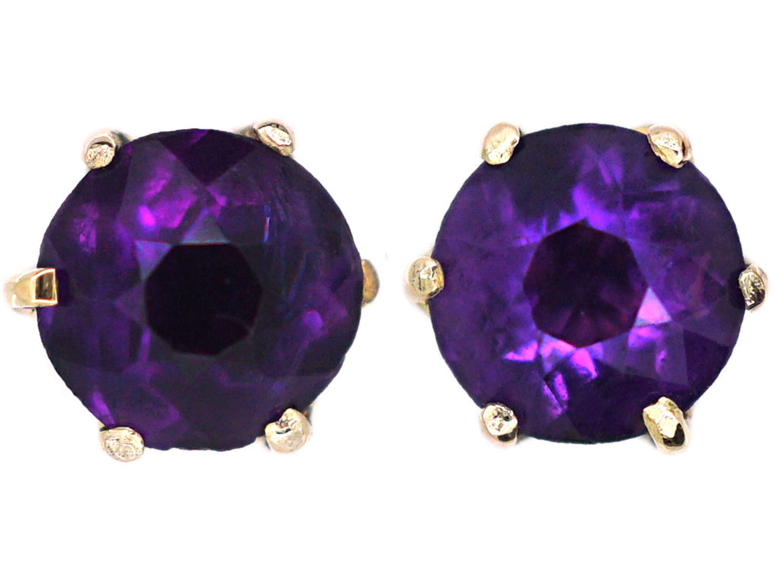 Edwardian 9ct Gold & Amethyst Stud Earrings