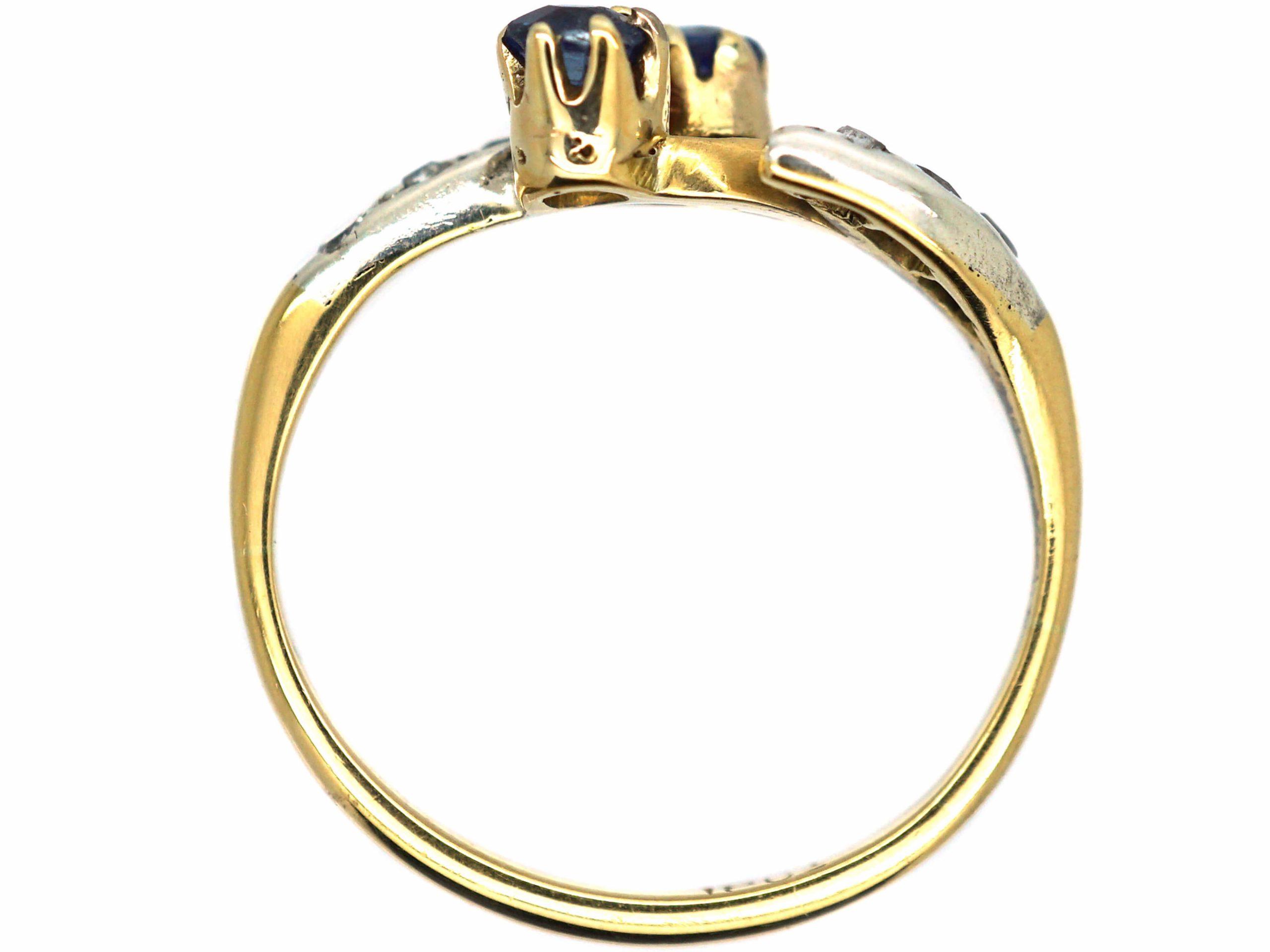 Art Nouveau 18ct Gold & Platinum, Sapphire & Diamond Ring