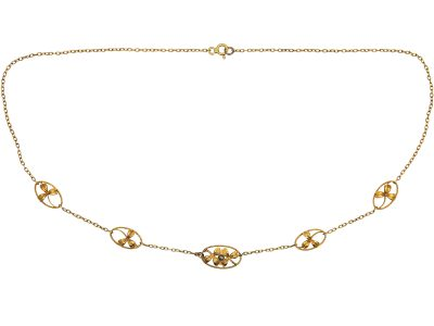 French Belle Epoque 18ct Gold Necklace with Four Leaf Clovers