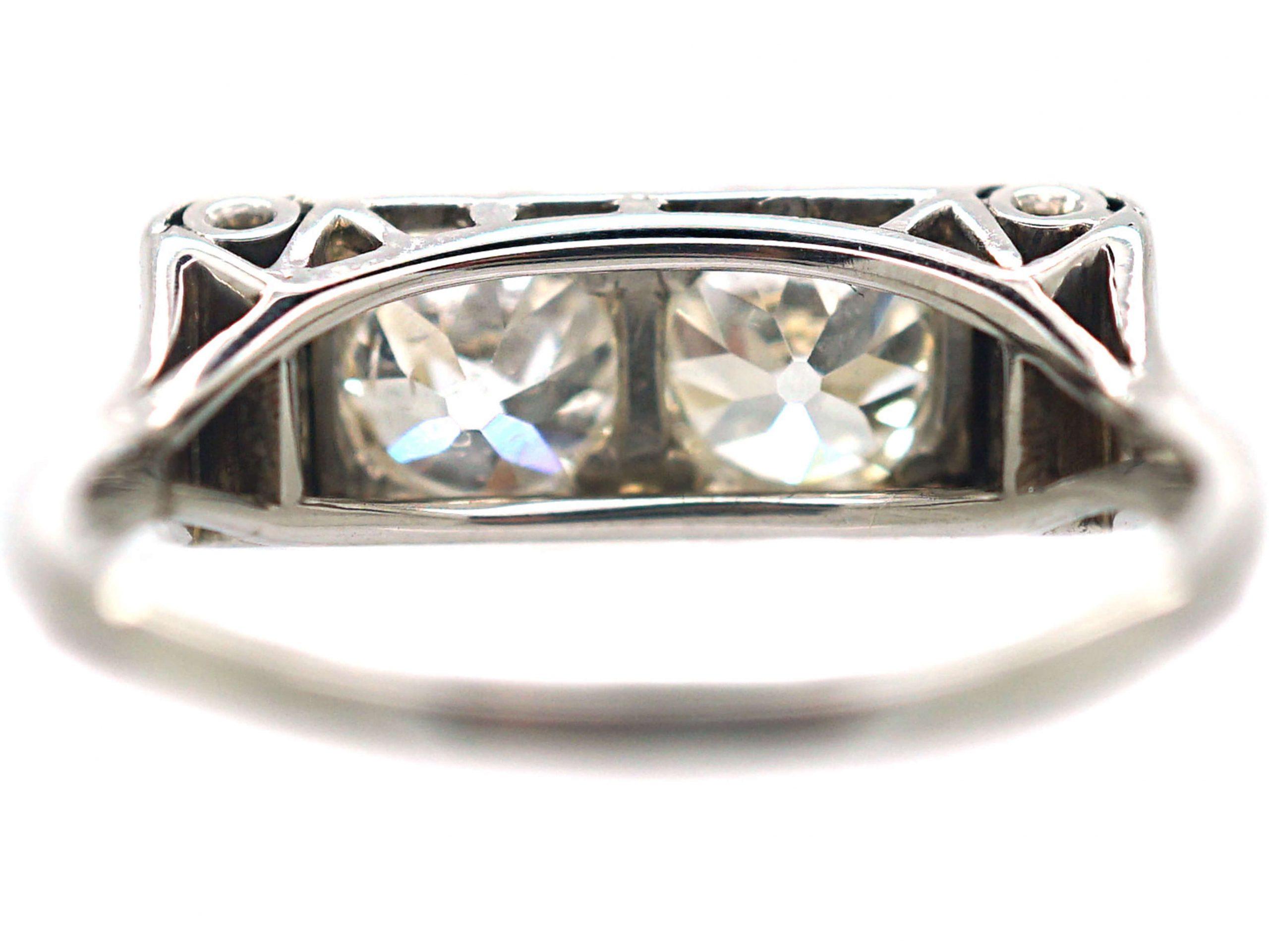 Art Deco 18ct White Gold, Two Stone Diamond Ring