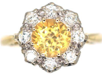 18ct Gold & Platinum, Yellow Sapphire & Diamond Cluster Ring
