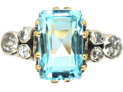 Edwardian 18ct Gold & Platinum, Aquamarine & Diamond Ring