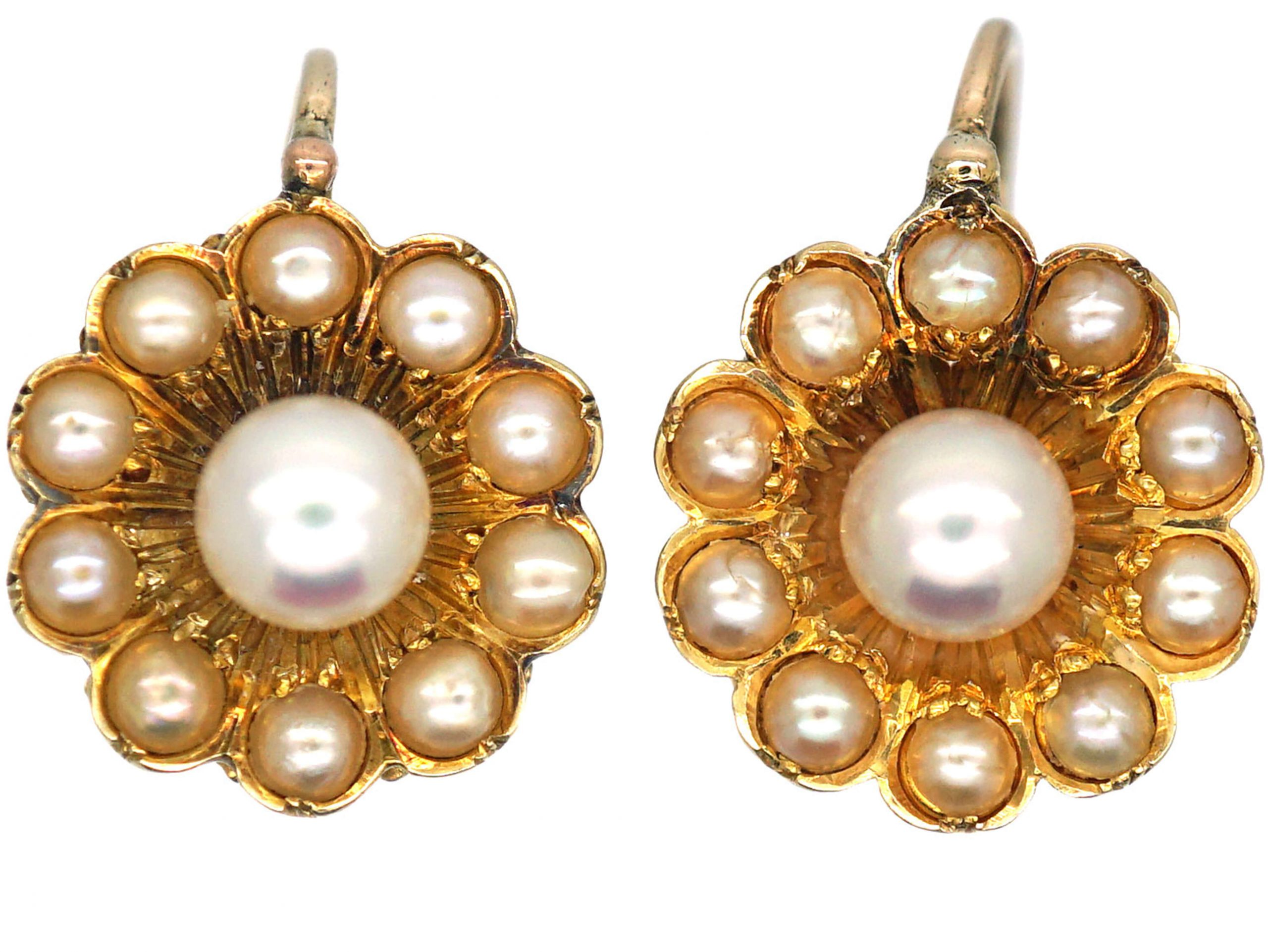 Victorian 15ct Gold Daisy Earrings set with Natural Split Pearls