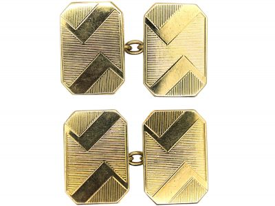 Art Deco 9ct Gold Zig Zag Design Cufflinks