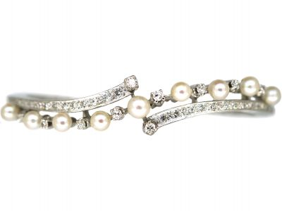 14ct White Gold Diamond & Pearl Crossover Bangle