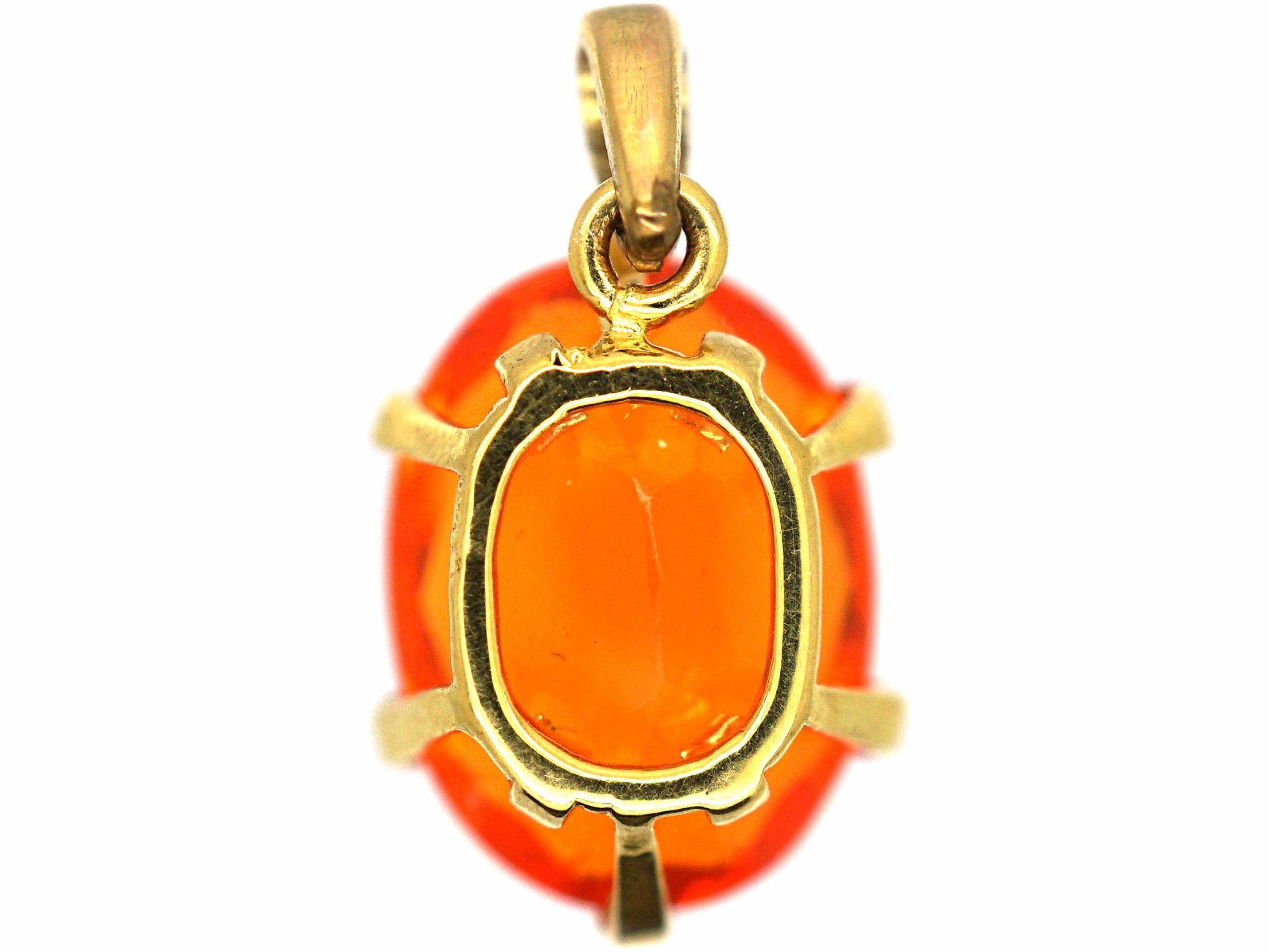 18ct Gold Fire Opal Pendant