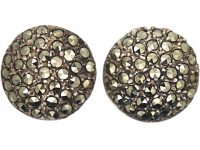 Art Deco Silver & Marcasite Round Earrings