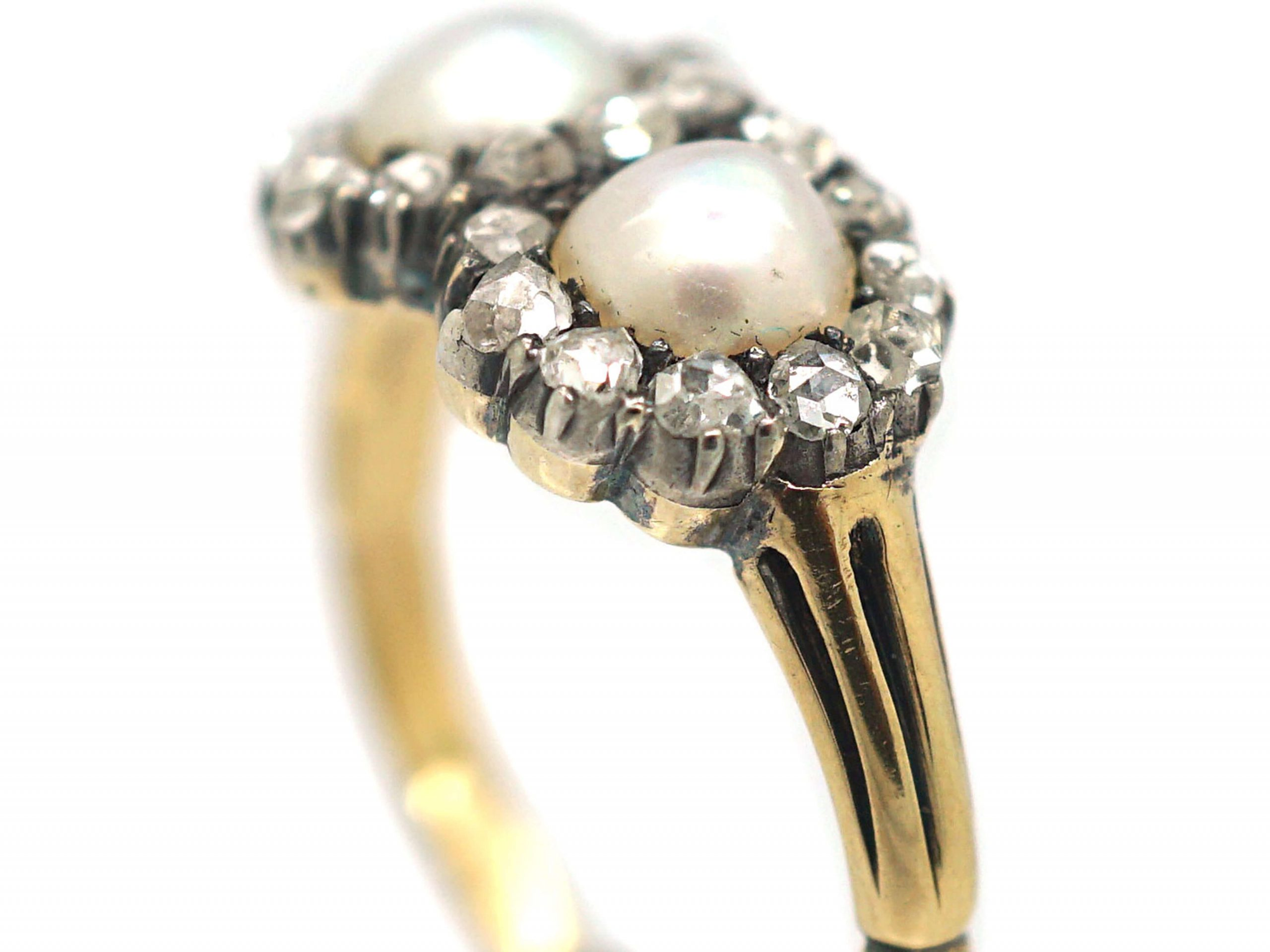 Victorian 18ct Gold Double Heart Ring set with Natural Pearls & Rose Diamonds