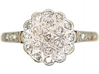 Edwardian 18ct Gold & Platinum, Diamond Cluster Ring with Star Shaped Setting & Diamond shoulders