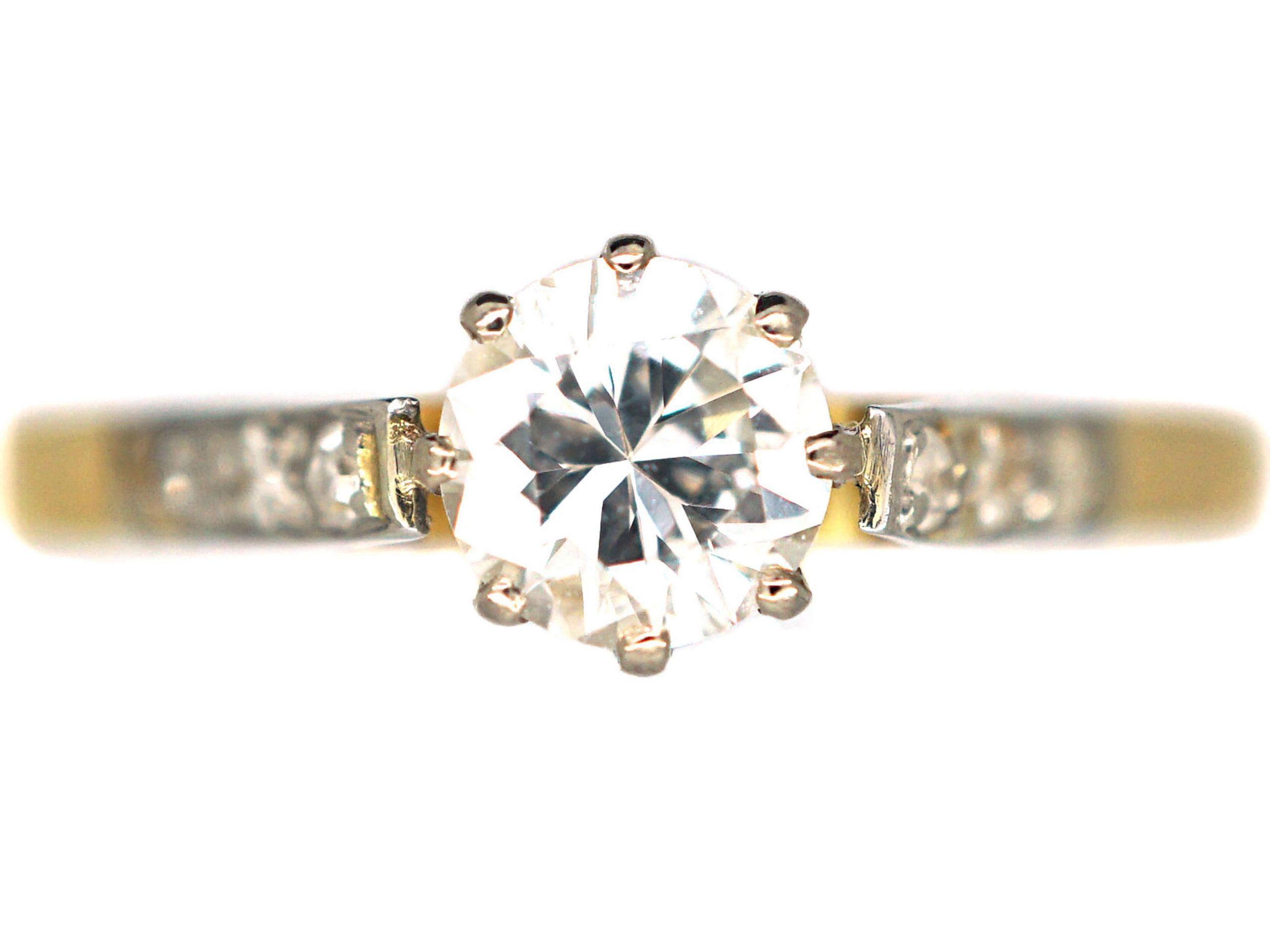 18ct Gold & Platinum, Single Stone Diamond Ring with Diamond Set Shoulders
