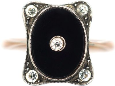 Art Deco 9ct Gold & Silver, Onyx & Paste Ring