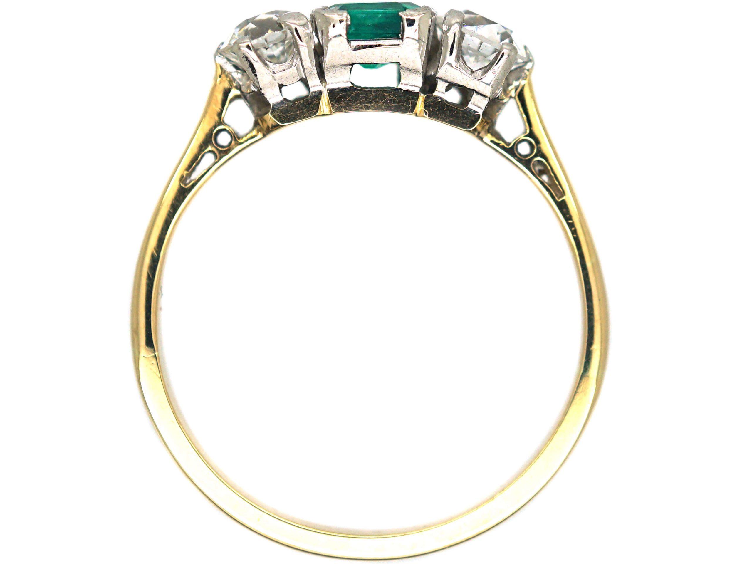 Art Deco 18ct & Platinum, Emerald & Diamond Three Stone Ring