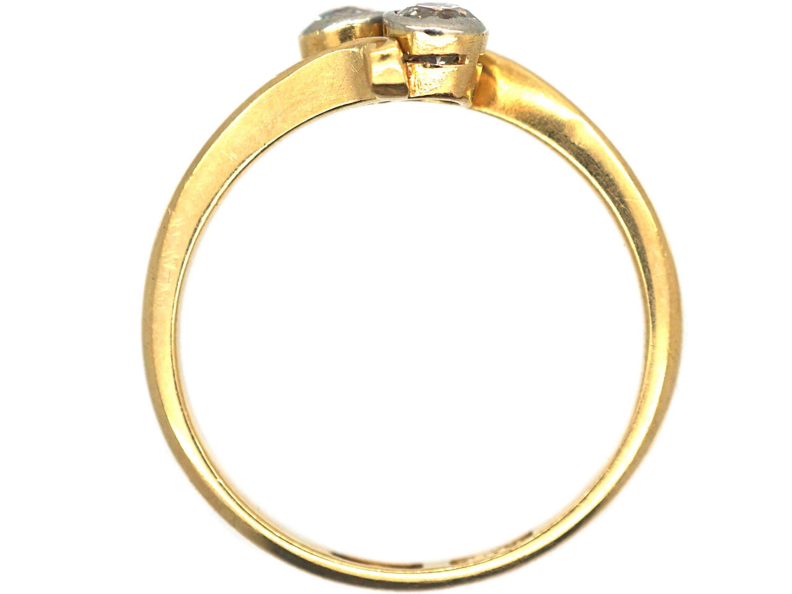 Edwardian 18ct Gold Two Stone Diamond Crossover Ring
