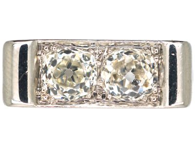 Art Deco 18ct White Gold, Two Stone Diamond Ring