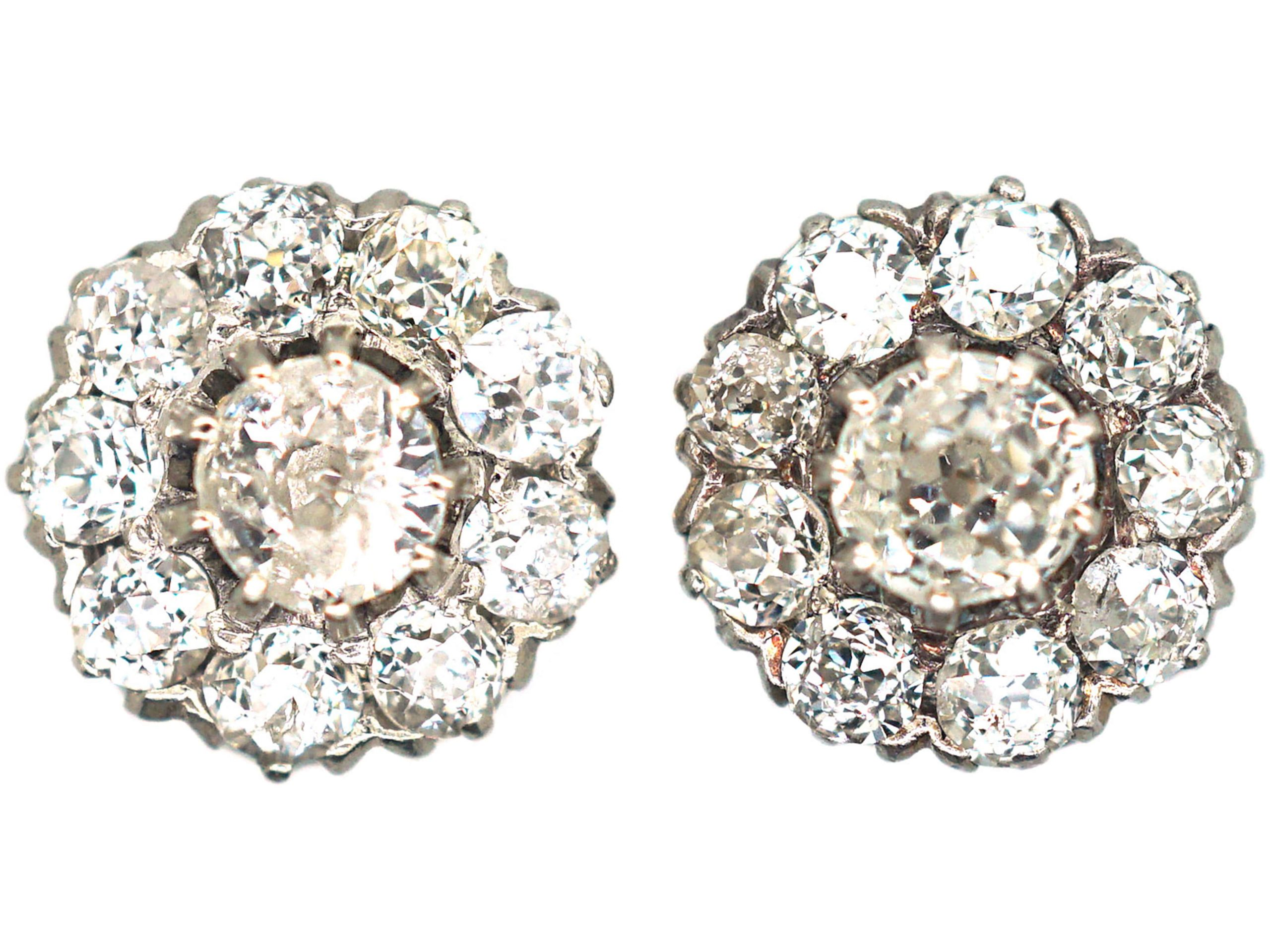Edwardian 18ct Gold & Platinum, Diamond Daisy Cluster Earrings