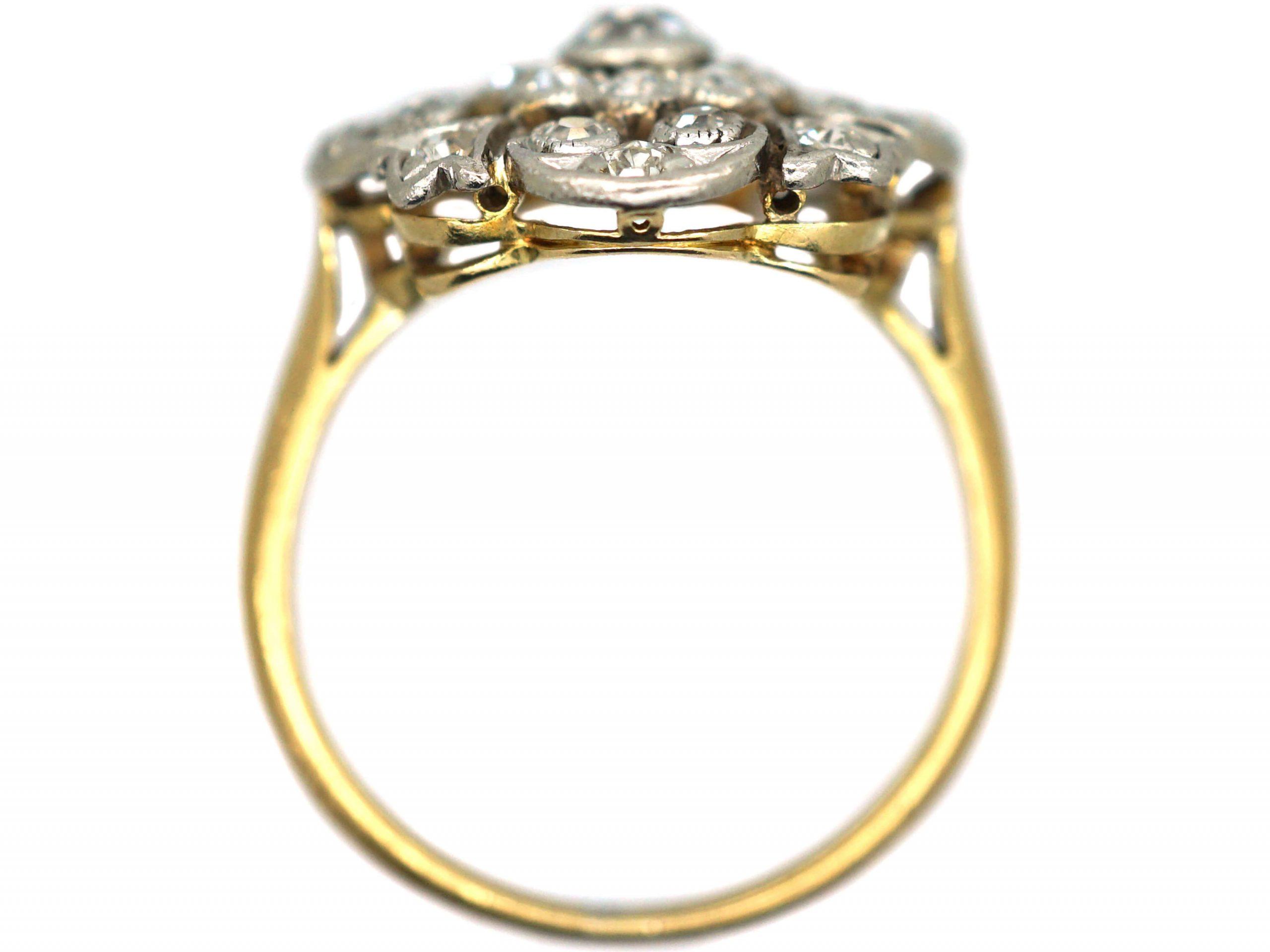 Edwardian 18ct Gold & Platinum, Diamond Openwork Cluster Ring