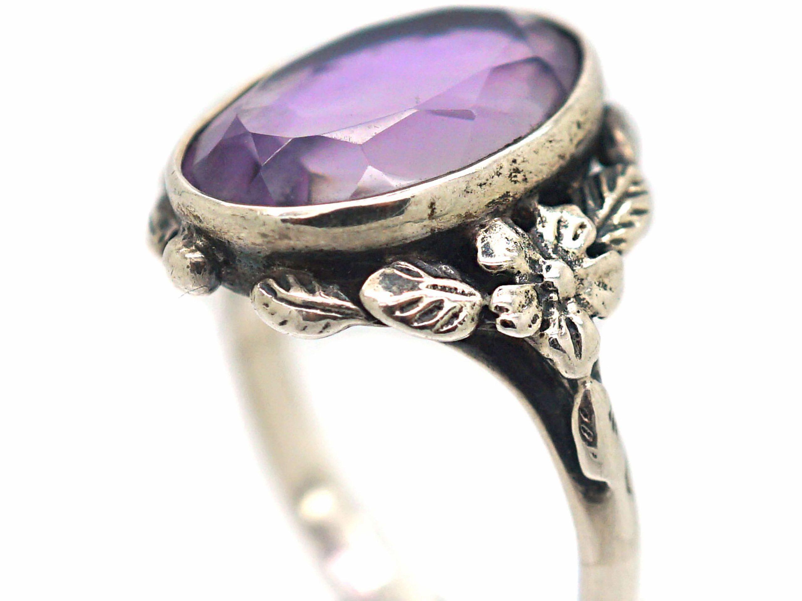Silver & Amethyst Arts & Crafts Ring Attributed to Bernard Instone