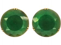 Art Deco 18ct Gold & Nephrite Large Round Earrings