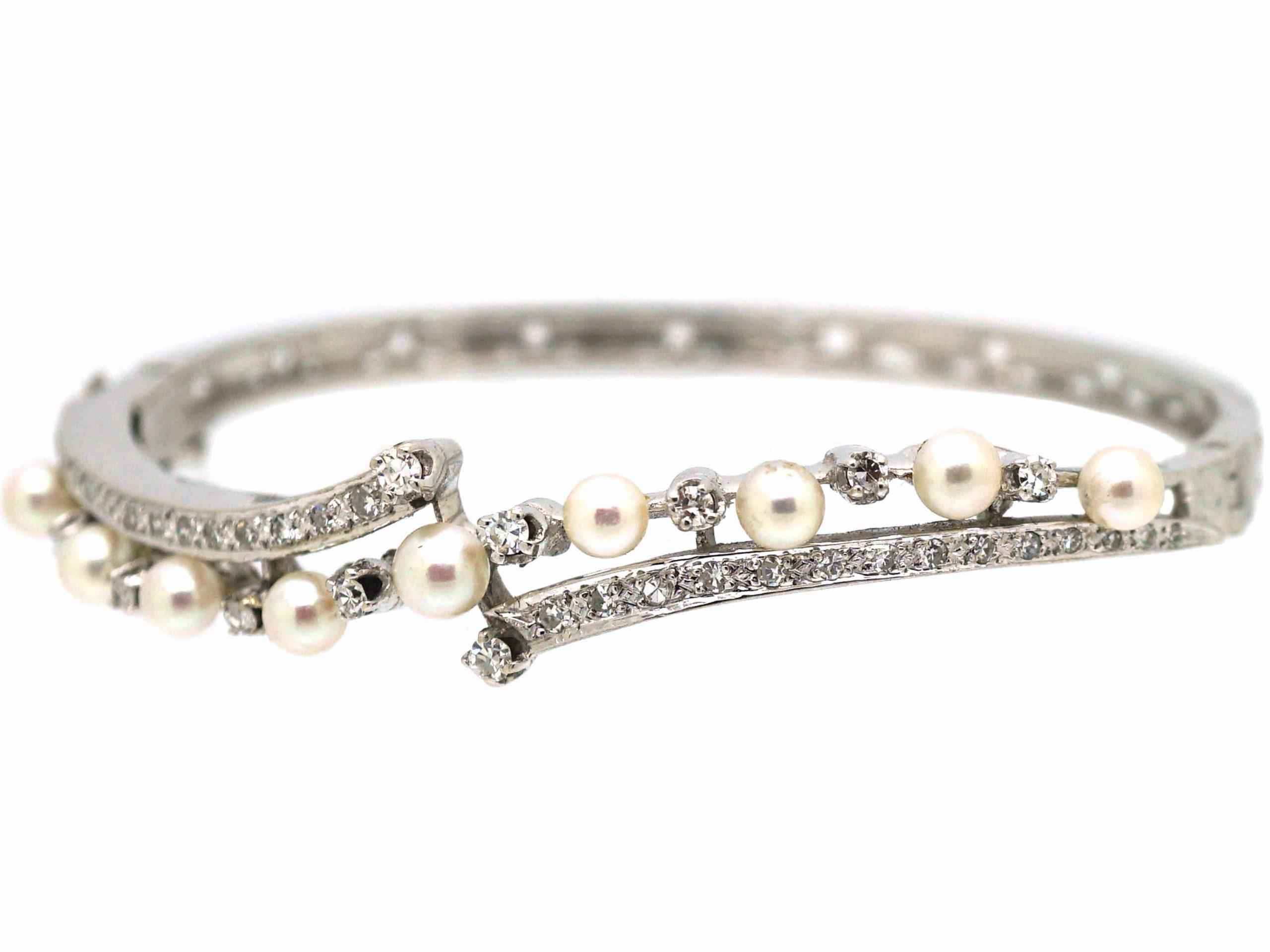 14ct White Gold Diamond & Pearl Crossover Bangle