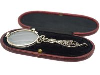Art Deco Silver Lorgnette With a Marcasite & Gemstone Bow & Flower Basket Handle in Original Box