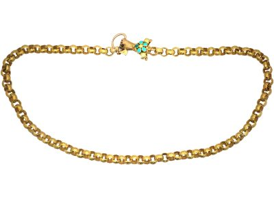 Georgian 18ct Gold Chain with Three Colour Gold Hand Clasp set with Turquoise & a Garnet