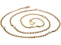 Edwardian 15ct Gold & Natural Pearl Trace Link Chain with 9ct Gold Clasp