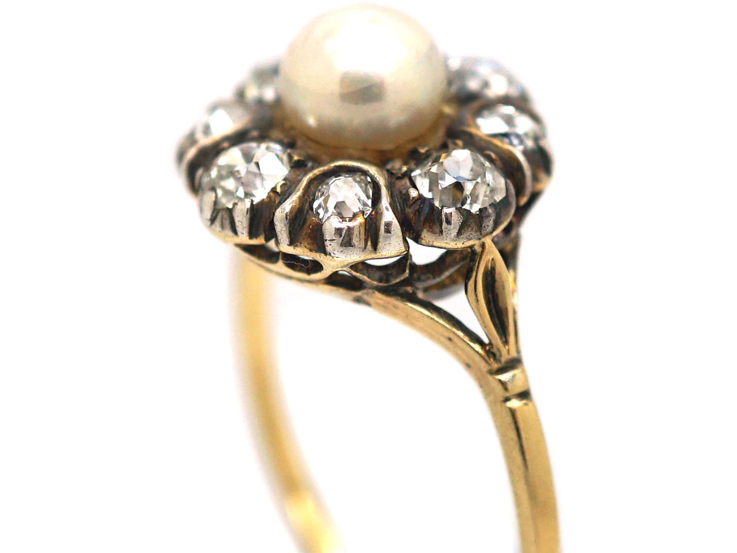 Edwardian 18ct Gold & Silver, Pearl & Diamond Cluster Ring