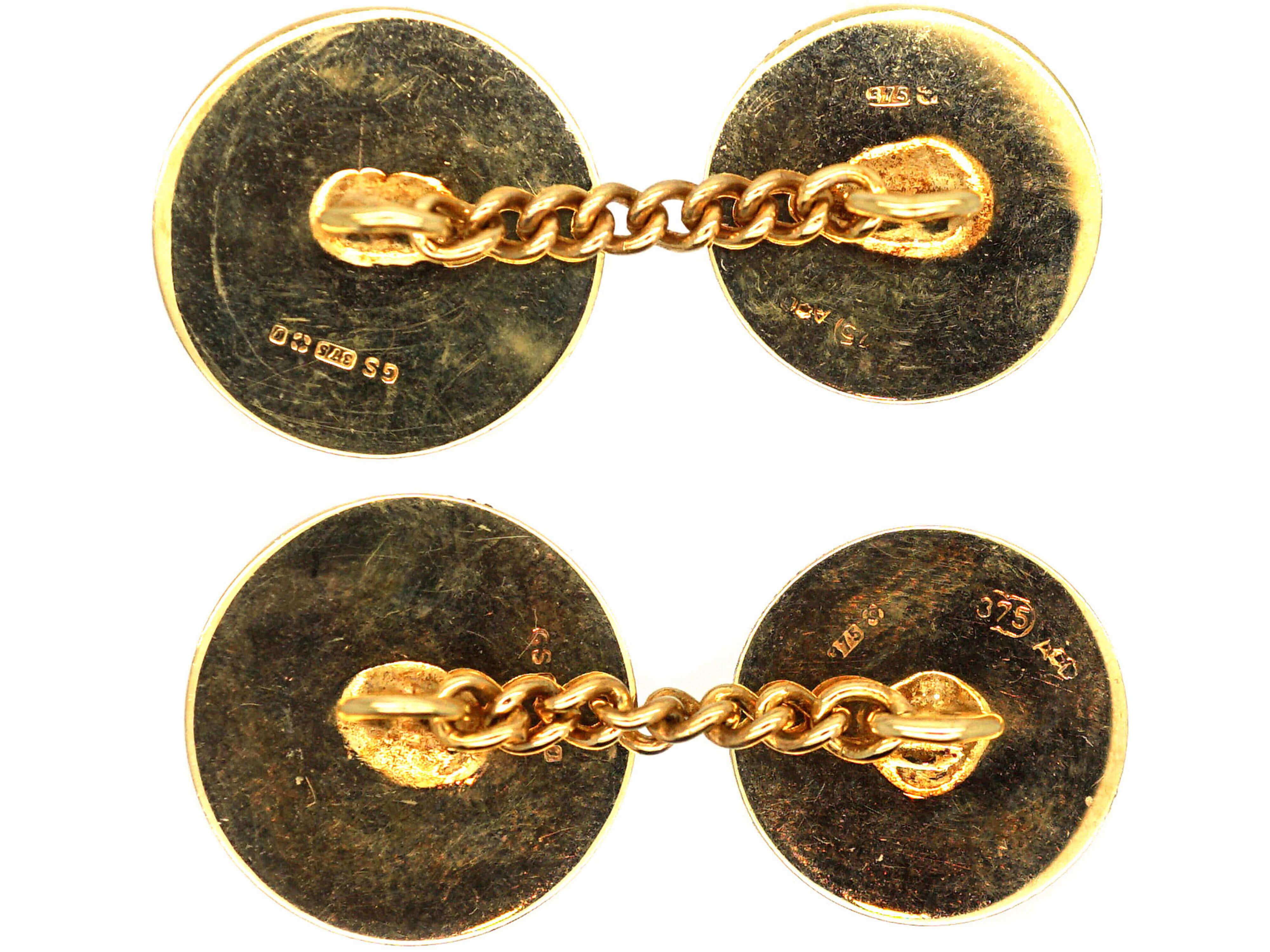 Art Deco 9ct Gold Round Cufflinks with Half Moon Design